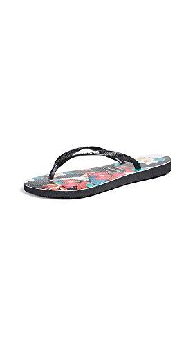Havaianas Women's Slim Tropical Floral Sandal, Black 39/40 BR (9/10 M US) - Havaianas Floral Flip Flops
