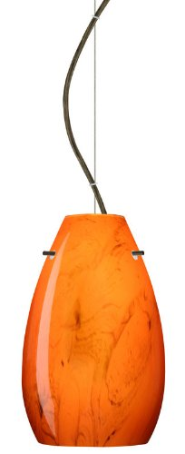 Besa Lighting 1KX-4126HB-LED-BR 1X6W GU24 Pera 9 LED Pendant with Habanero Glass, Bronze (Pera Habanero Bronze Pendant)