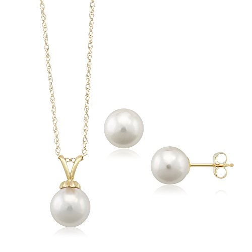 14K Yellow Gold 7mm Cultured Akoya Pearl Pendant Set with Matching Earrings by Gem Stone King