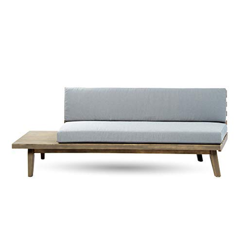 Great Deal Furniture 302614 Grace Indoor Minimalist Finished Acacia Wood Right Sided Sofa with Grey Cushions