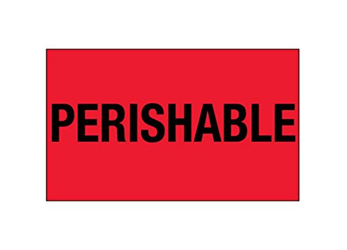 RetailSource DL1328x1 3 x 5' -'Perishable', (Fluorescent Red) Labels, 3.25' Height, 5.75' Length, 3.25' Width (Pack of 500) 3.25 Height 5.75 Length 3.25 Width (Pack of 500) RetailSource Ltd