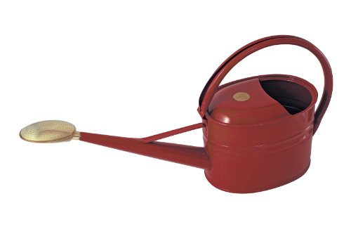 Haws Slimcan Metal Watering Can with Oval Rose, 1.3-Gallon/5-Liter, - Us Gallons 1.3