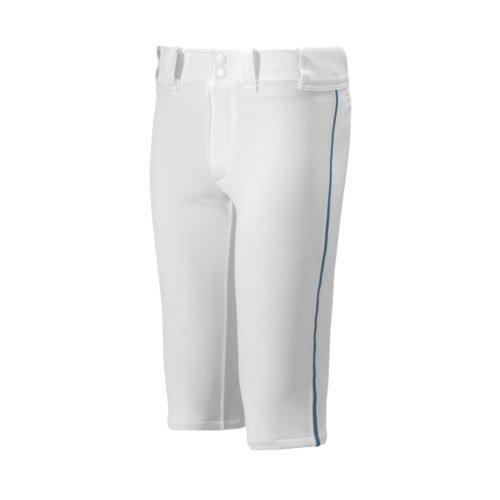 Mizuno Youth Premier Short Piped Pants, White/Navy, Medium