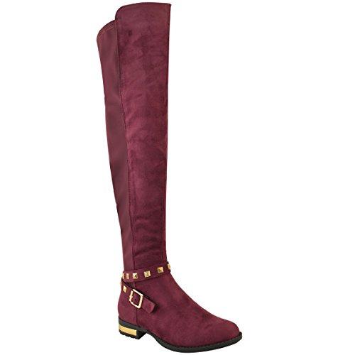 Mode Dorstige Dames Bezaaid Kniehoge Goudkleurige Hak Platte Stretchy Laarzen Maat Bordeaux Rood Faux Suede