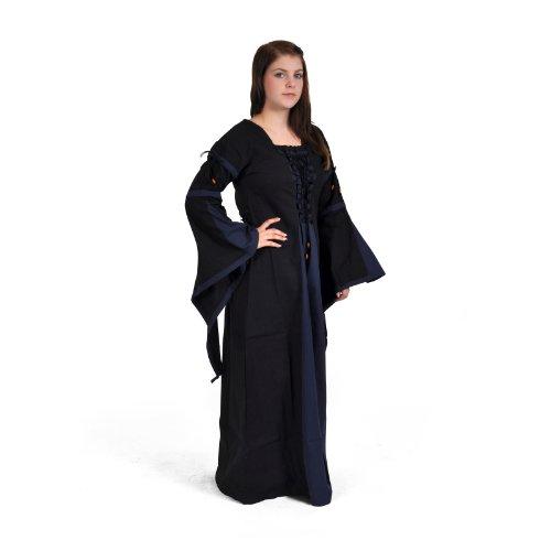 blau Leinen Baumwolle im lang S Mittelalter schwarz Blau Größen XXL Look EwIYxq