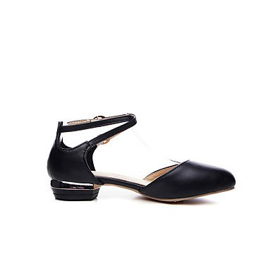 LvYuan Mujer Zapatos Semicuero Primavera Verano Tacón Bajo Blanco Negro Rosa Plano White