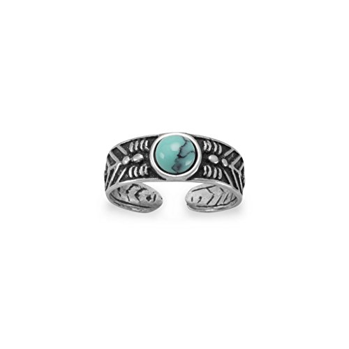Sterling Silver Turquoise Toe Ring - JewelryWeb 925 Oxidized Sterling Silver Toe Ring With 5mm Simulated Turquoise (5.5mm)