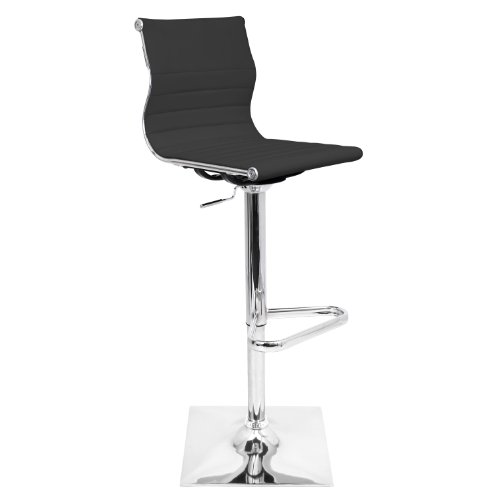 WOYBR BS-TW BK Pu Leather, Chrome Master Barstool, 46