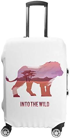 スーツケースカバー トラベルケース 荷物カバー 弾性素材 傷を防ぐ ほこりや汚れを防ぐ 個性 出張 男性と女性ライオンのシルエットのある風景します