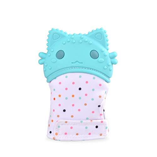 Tantisy ♣↭♣ Baby Toddler Mittens/Self Soothing Teething Mittens/BPA-Free Silicone Teething Mitt/Boys Girls Infant Newborn Sky Blue