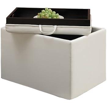 Convenience Concepts Designs4Comfort Modern Accent Storage Ottoman, White