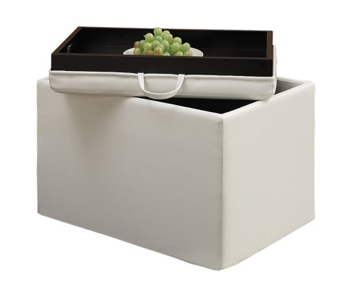 Convenience Concepts Designs4Comfort Modern Accent Storage Ottoman, White - Aspen Square Table