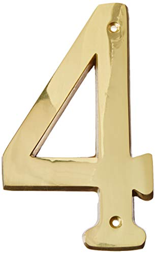 Stanley N207-209 National Hardware House Number, No 4, 6 In, 3.38 In W X 0.3 In Thick, Solid, Brass