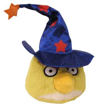 Angry Birds Halloween 5-Inch Plush Yellow Bird with Wizard Hat]()