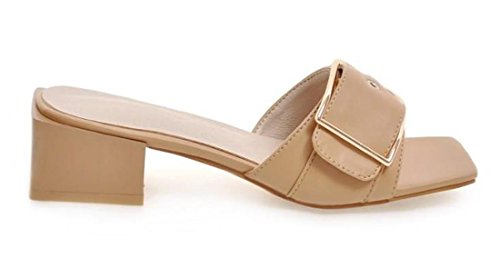 VECJUNIA Ladies Metal Buckle Square Head Sandals Slip On Outdoor Slippers Walking Shoes apricot vewNUo