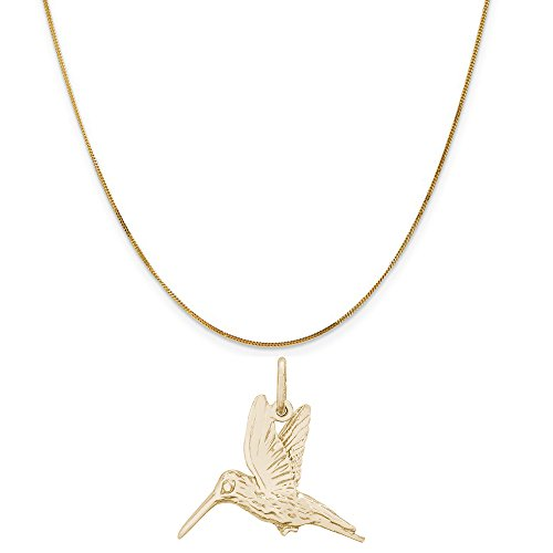 Rembrandt Charms 14K Yellow Gold Hummingbird Charm on a 14K Yellow Gold Curb Chain Necklace, 18