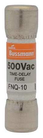 BUSSMANN FNQ-10 FNQ Series Time Delay 500 V 10 A Ø 10.3 x 38.1 mm TRON Cartridge Fuse - 1 item(s) (Tron Delay Fuse Time)