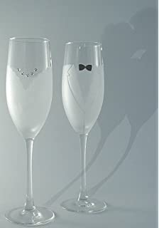 83596c398bf756 Bride   Groom Champagne Flute Glass Set by Asta Glass