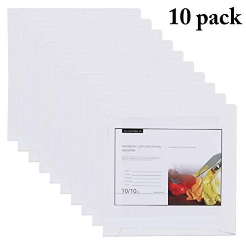 Joyibay 10PCS Canvas Panels Practical Blank Panel Canvas Boards for Creative Painting Panels Canvas Board Painting Canvas Pack for Kids(10 ×10cm)