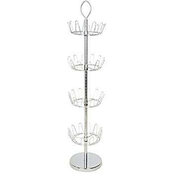 Revolving Shoe Tree Organizer Rack Chrome Finish Bamboo Joint Grain with Ring Handle Holds 24 Pairs Shoes(Four-Tier HANKEY)