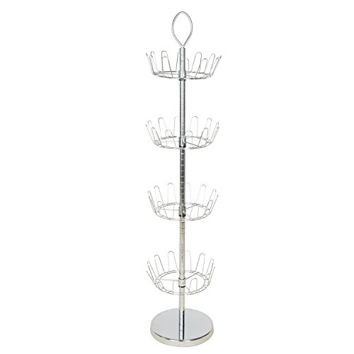 Organizer Rack ChromeFinish Bamboo Joint Grain with Ring Handle Holds 24 Pairs Shoes(Four-Tier HANKEY) (Revolving 4 Tier)