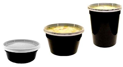 8 16 32 oz. BLACK Plastic Freezer Food Storage Soup Container Tub w/Lid by Osislon Series