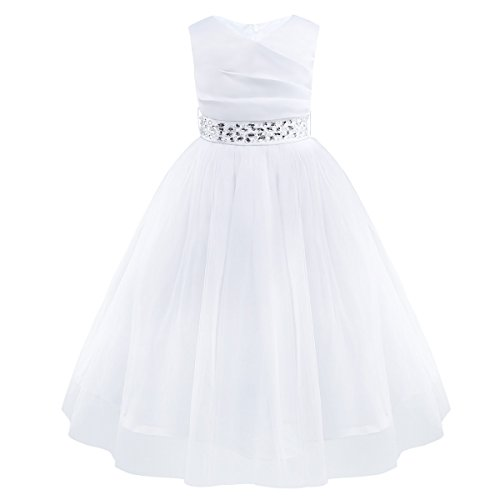 FEESHOW Crochet Lace Flower Girls Heart Back Wedding Communion Pageant Party Dress Prom Ball Gown
