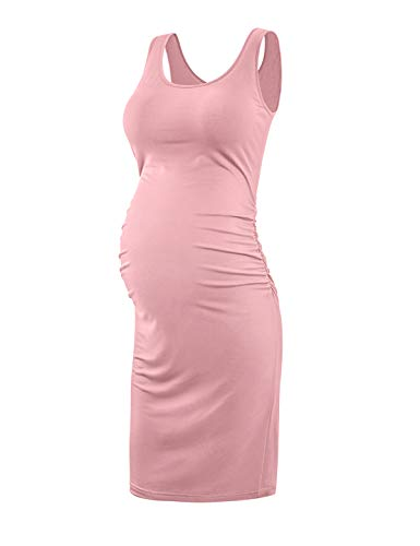 KIM S Maternity Dress, Summer Maternity Dresses Bodycon Tank Dress (Pink L)