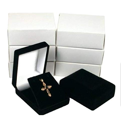 - 888 Display USA 6 Black Velour Necklace Pendant Gift Boxes Jewelry Displays Black