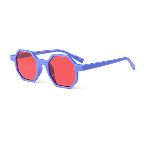 Glasses Mod Fashion Womens Azules Frame Polygonal Aiweijia style Y Rojas design Películas Irregular Sunglasses wI4xFS