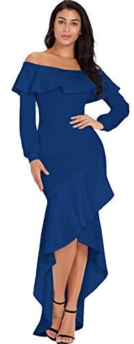 Long Sleeve Off The Shoulder Ruffled Ruffle Hem High Low Hem Irregular Hem Long Maxi Bodycon Fishtail Mermaid Dress Blue L