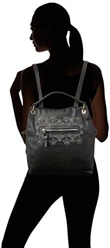 Mamatayoe La Mágia - Borse a zainetto Donna, Negro (Real Black Leather), 15x30x30 cm (W x H L)