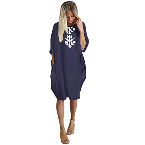 iLUGU Womens Plus Size Loose Dress Ladies Crew Neck Casual Long Tops Pocket Dress