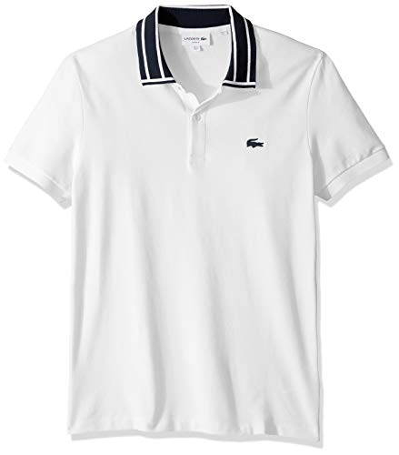 Lacoste Men's S/S Stretch Pique Slim FIT Striped Collar Polo, White, 4X-Large