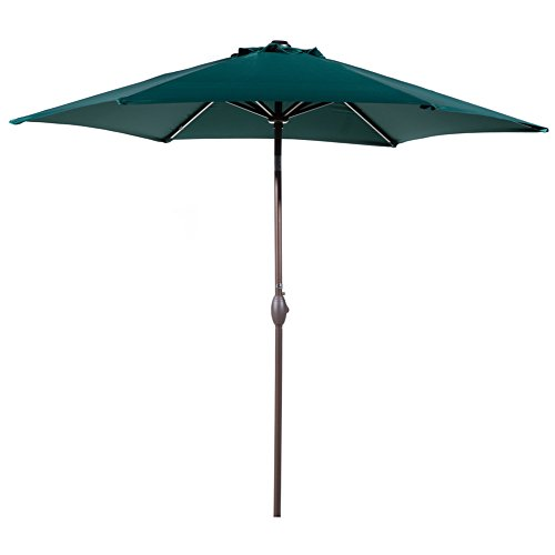 Umbrella Market Base 9 (Abba Patio Outdoor Patio 9 Feet Aluminum Market Table Umbrella with Push Button Tilt and Crank, Dark Green)