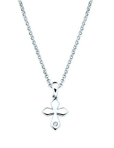 Little Diva Diamonds Cross Diamond Accent Pendant Necklace in 925 Sterling Silver, 16