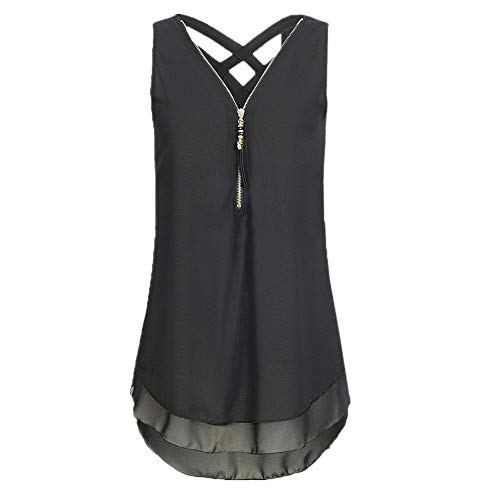 iYBUIA Women Loose Sleeveless Solid Tank Top Cross Back Hem Layed Zipper V-Neck T Shirts Tops