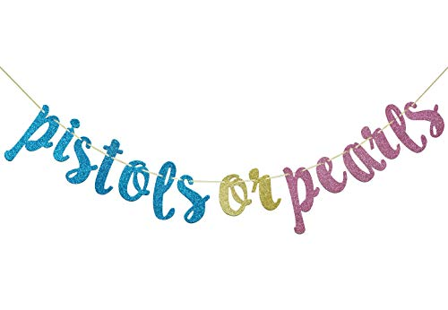 - Qttier Pistols or Pearls Glitter Banner Garland for Gender Reveal, Baby Shower, Pregnancy Announcement Party Decorations Photo Props
