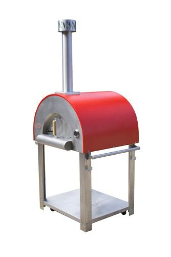 Medio28 Portable Wood Fired Pizza Oven Cart - Red