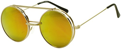 Round Circular Django Flip-Up Steampunk Inspired Metal Two in One Sunglasses (Gold | Fire Red Lens, - Fashion Inspired Steampunk