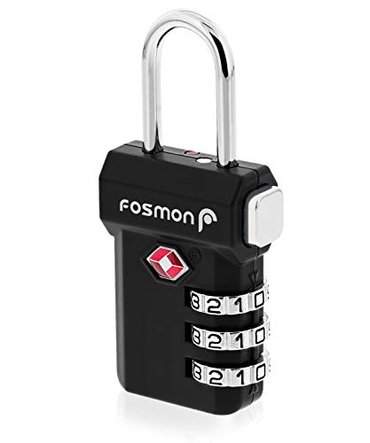 (Fosmon TSA Approved Luggage Locks, (1 Pack) Open Alert Indicator 3 Digit Combination Padlock Codes with Alloy Body and Release Button for Travel Bag, Suit Case & Luggage - Black)