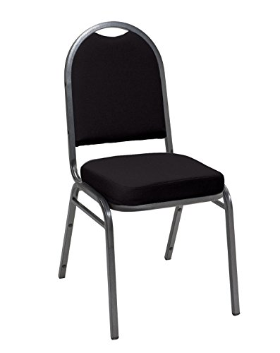 KFI Seating IM520 Armless Stacking Chair, Commercial Grade, 2-Inch, Black Fabric/Silver Vein - Stacking Back Square Chairs Upholstered