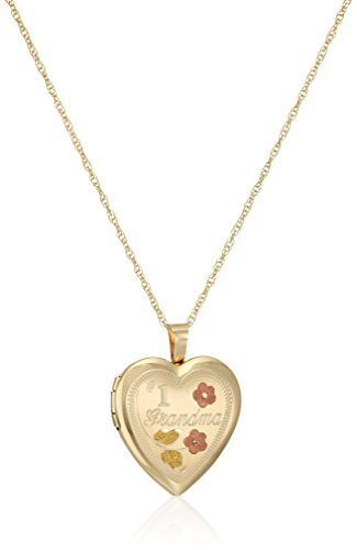 (14k Gold-Filled Satin Finished Hand Engraved #1 Grandma Heart Pendant with Tricolor Locket Necklace, 18