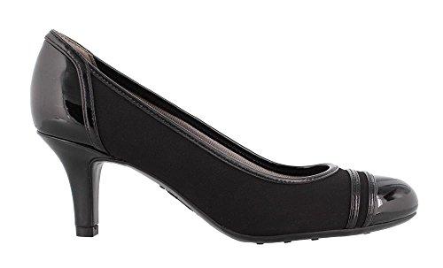LifeStride Women's, Petunia Mid Heel Pumps Black Lamy 8.5 M (Black Leather Mid Heel Pump)