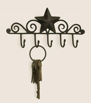 New Brown Iron Metal Decorative Barn Star 5 Wall Mounted Key Hanger Holder Hook