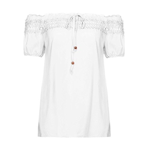 Women Blouse Summer T Shirt Lace Flower Sleeve Cold Off Shoulder Blouse (Linen Corset)