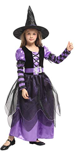 Binse Kids Witch Costume for Girls Halloween Fancy Dress Up Outfit with Hat (4-6 -