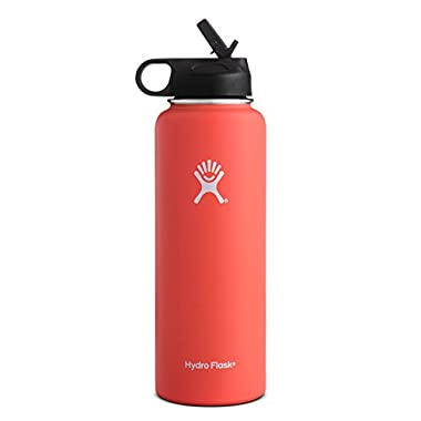 Hydro Flask Vacuum Insulated Stainless Steel Water Bottle Wide Mouth with Straw Lid (Tangelo, 40-Ounce)
