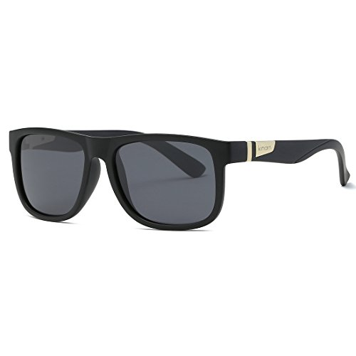 Unisexo De Forma Cuadrada Hombres Kimorn Retro Mate Polarizado K0585 Sol Negro Anteojos Gafas EU4q8