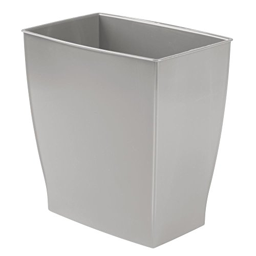 - InterDesign Spa Rectangular Trash Can, Waste Basket Garbage Can for Bathroom, Bedroom, Home Office, Dorm, College, 2.5 Gallon, Gray